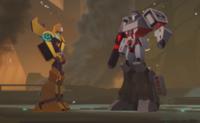 Bumblebee and Megatron Cyberverse