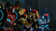 Bee with Grim, Blurr, and Sideswipe