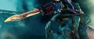 Optimus Prime bevecht Driller en Shockwave
