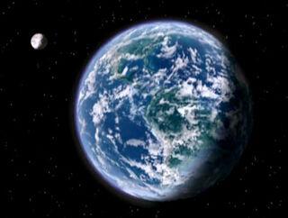 Ein Planet mit Mond