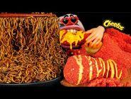 ASMR MUKBANG Cheetos Cheese Chicken & Black Bean Noodles EATING SHOW (4K)