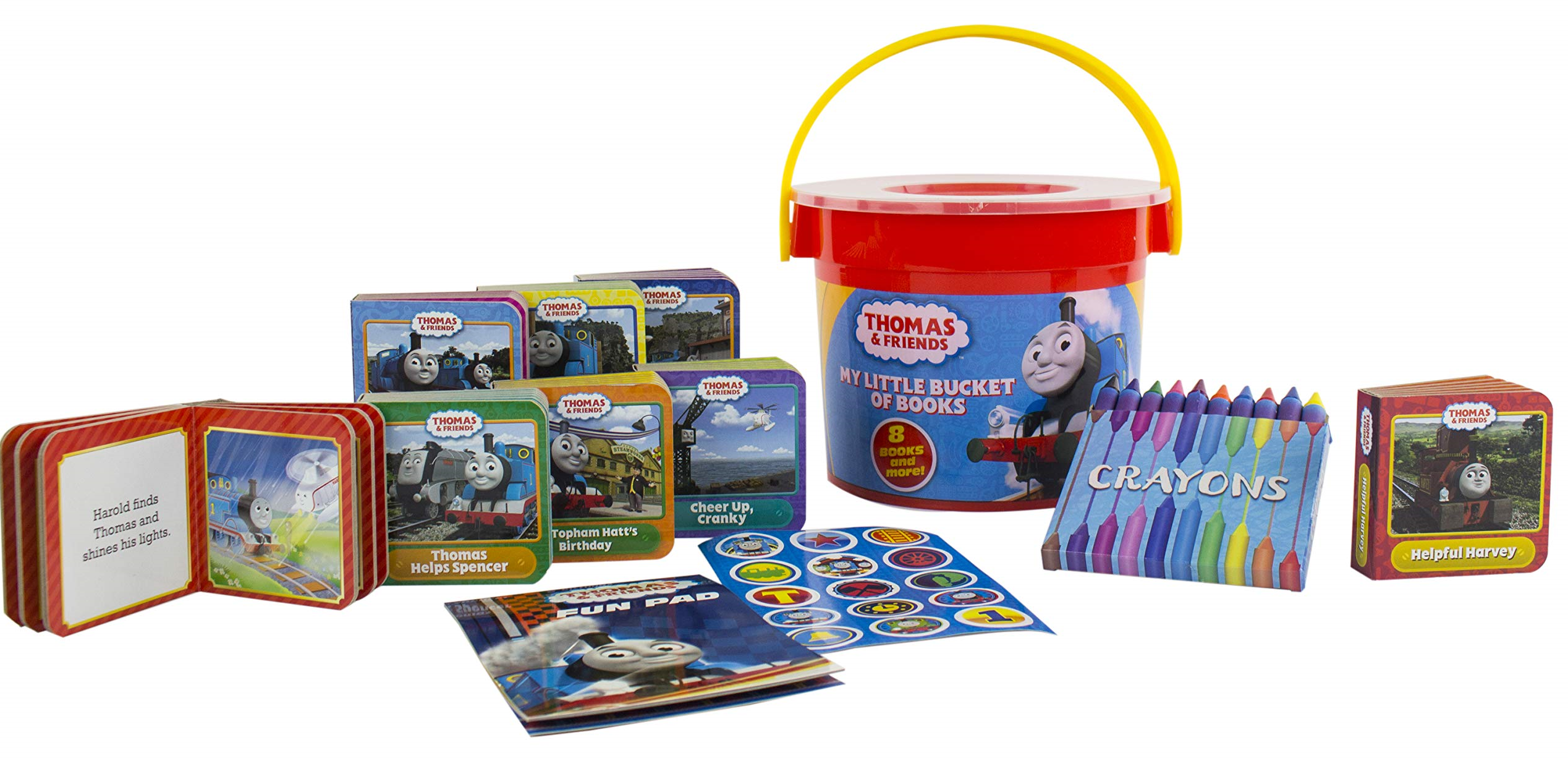 THOMAS THE TRAIN /& FRIENDS MY LITTLE BUCKET OF BOOKS Book Set Crayons /& More