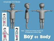 Boy 01 Greyscale CGI Model Body
