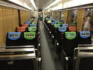 The Keihan Railway 8000 Series 8760F Interior decorated with Thomas & Friends 8000 Series Seat Fabric Decals