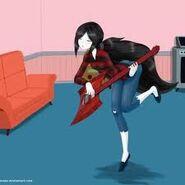 Marceline tocando guitarra em mangá