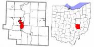 Zanesville highlighted Muskingum County Ohio