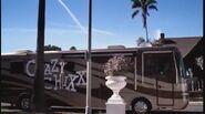 We catch a very brief glimpse of the Crazy Chixx tour bus