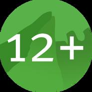 Возрастной знак 12+ (Карусель, 2012-2019) большой на прозрачном фоне