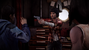 TWD Michonne - Sam aponta o revólver.png