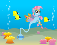 Wishgriff seapony genie-tailed with background