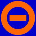 Orange logo blue bkgd
