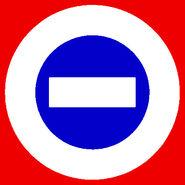 White logo blue center red bkgd