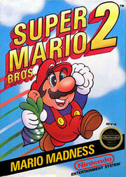 """Mario is seen jumping into the air holding a beet, with the game's logo on the top and the tagline """"Mario Madness"""" on the bottom."""