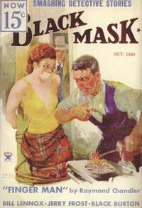"""Magazine cover with illustration of a terrified-looking, red-haired young woman gagged and bound to a post. She is wearing a low-cut, arm-bearing yellow top and a red skirt. In front of her, a man with a large scar on his cheek and a furious expression heats a branding iron over a gas stove. In the background, a man wearing a trenchcoat and fedora and holding a revolver enters through a doorway. The text includes the tagline """"Smashing Detective Stories"""" and the cover story's title, """"Finger Man""""."""