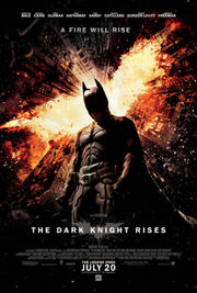 Batman standing in Gotham with a flaming bat symbol above