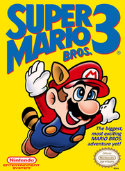 """Mario is seen flying using the """"Raccoon Mario"""" power-up over a yellow/gold background. The Game's logo appears on the top and the game's tagline appears on the bottom."""