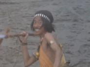 Saburo throws spear
