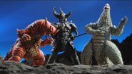 Gomora and Red King VS Armoured Darkness