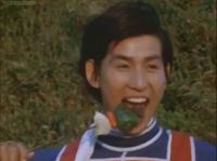 Kotaro eats a shish kebab