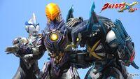 Ultraman X & Cyber Gomora vs Greeza