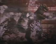 T-rex destroying buildings