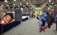 Eddie Murphy, Matt Graves, and Thomas the Tank Engine at UnAnything Comic Con 2021
