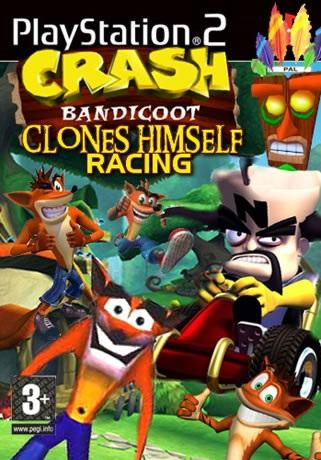 Crash Bandicoot Clones Himself Racing
