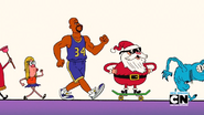 Mary, Shaquille O'Neal, Santa, and Dingle in Smile Juice