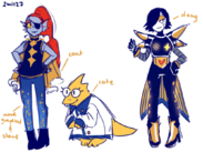 Outertale Undyne2C Alphys and Mettaton