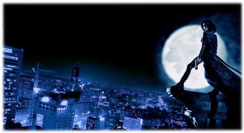 Selene under a full moon, looking over a city