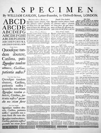 A specimen sheetof typefaces and languages, by William Caslon I, letter founder; from the 1728Cyclopaedia
