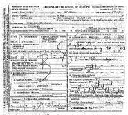 Phoenix John Doe (August 16, 1929) Death Certificate