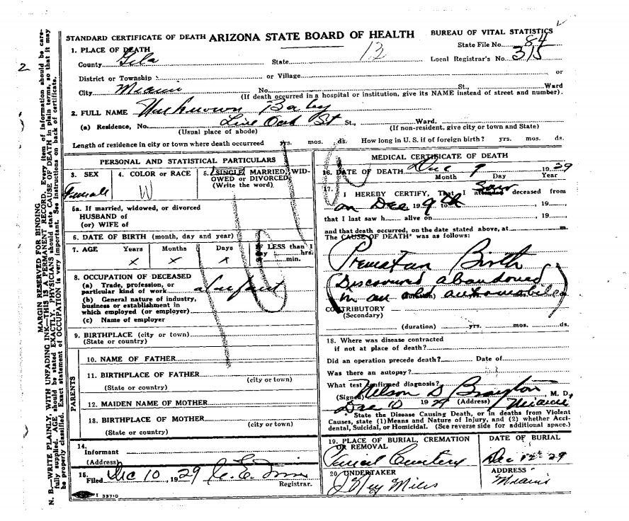 Gila County Jane Doe (1929)