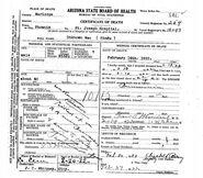 Phoenix John Doe (February 14, 1922) Death Certificate