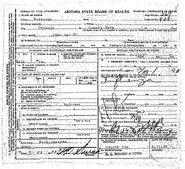 Phoenix John Doe (March 14, 1928) Death Certificate