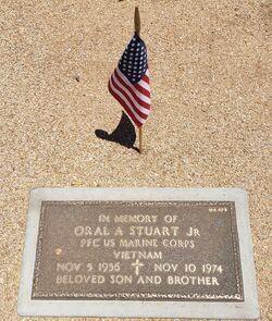 Oral Alfred Stuart Jr.'s memorial marker at the National Memorial Cemetery of Arizona in Phoenix, Arizona on Memorial Day of 2021.