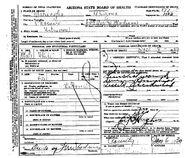Phoenix John Doe (December 8, 1929) Death Certificate