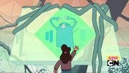 Criatura verde en pantalla