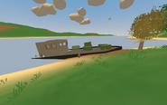Holman Island - partially sunken ship