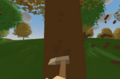正在砍树的野营斧