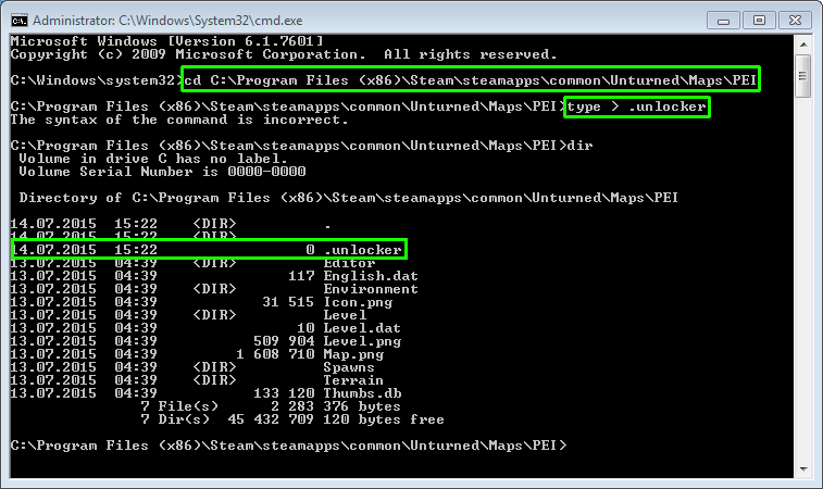 "How to create "".unlocker"" file via cmd.exe"