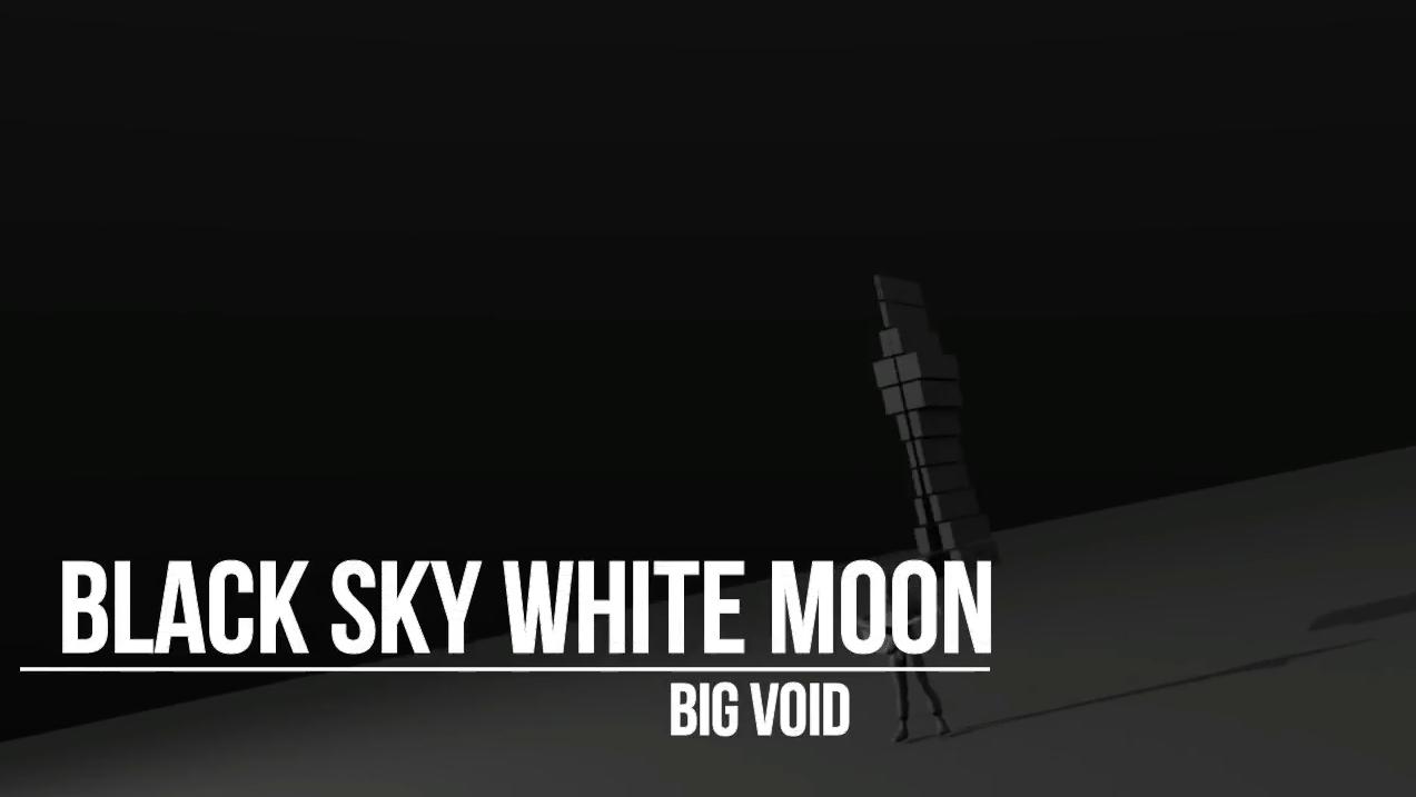 Black sky white moon