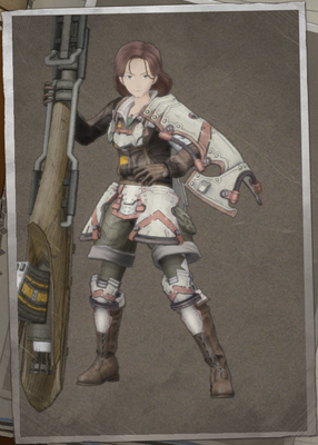 Hanna Carroll in Valkyria Chronicles 4.