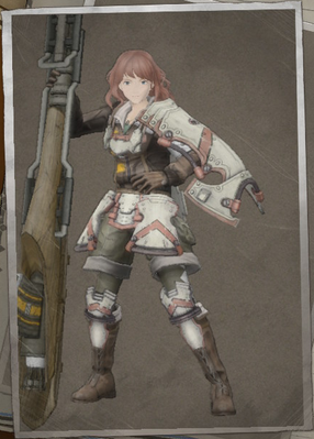 Brittany Scarlett in Valkyria Chronicles 4.