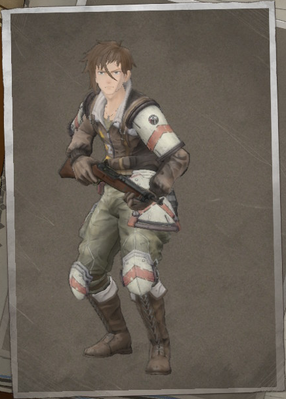 Curtis Blackwell in Valkyria Chronicles 4.