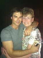 Ian on set with fan