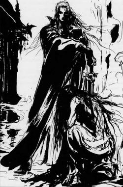 Callas kneeling down before her lord, Valcua.