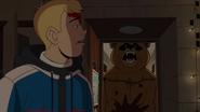 Scare Bear fills the doorway