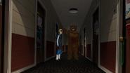 Scare Bear points Hank to Dean's dorm