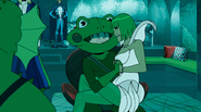 Brick Frog and Lilly holding hands